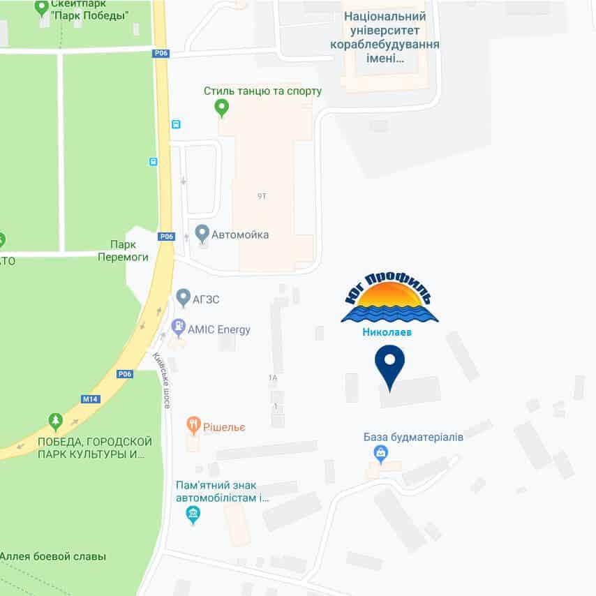 Фото карта Завод металлочерепицы и металлопрофиля Юг Профиль Николаев