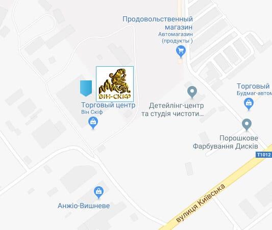 """Фото карта производителя металлочерепицы """"Вин-Скиф""""г. Вишневое"""